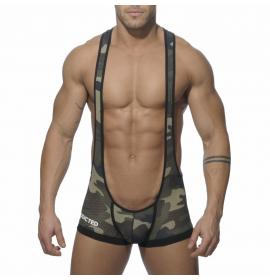 ADDICTED ELASTIC MESH BOTTOMLESS SINGLET - Camouflage