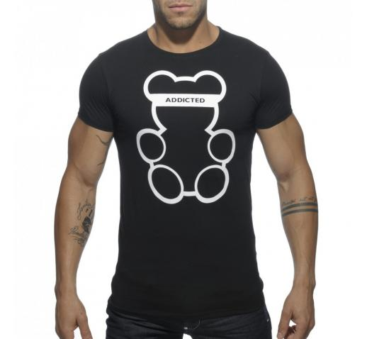 ADDICTED BEAR ROUND NECK T-SHIRT - Black