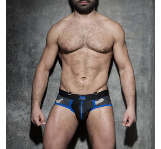 ADDICTED FETISH ZIPPER CAMO BRIEF - Royal Blue
