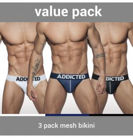 ADDICTED 3-PACK MESH BIKINI PUSH UP - 3 Colours