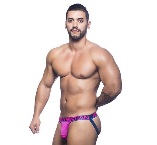 ANDREW CHRISTIAN ALMOST NAKED ELECTRIC JOCK - Electric Pink Stripe