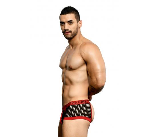 ANDREW CHRISTIAN MASTER NET BACKLESS BOXER - Black/Red