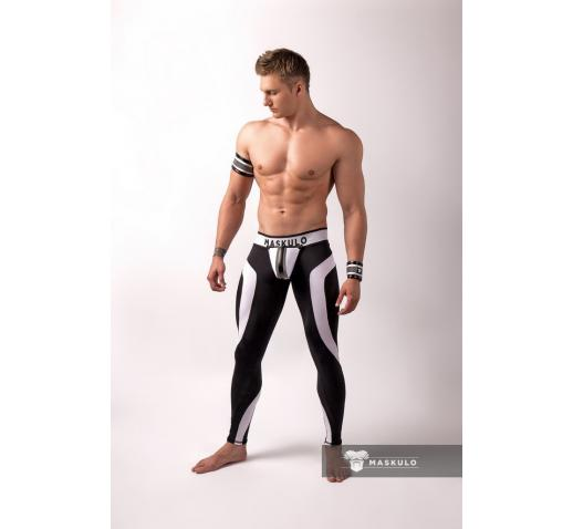 MASKULO YOUNGERO NEON FETISH LEGGINS OPEN BACK - White