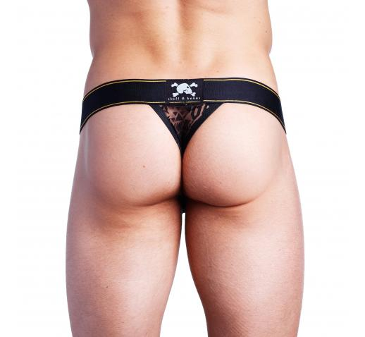 SKULL AND BONES BURNOUT THONG - BLACK