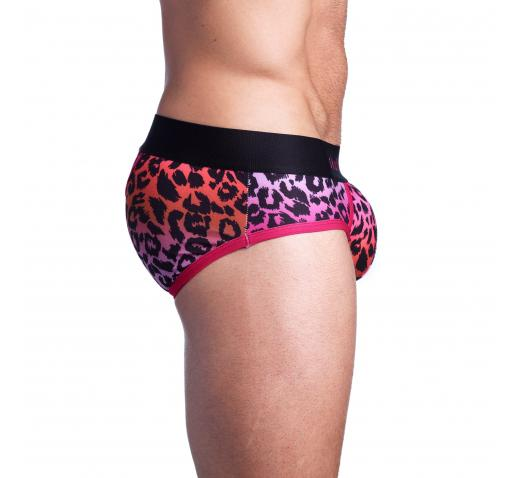SKULL AND BONES OMBRE LEOPARD PRINT BRIEF - PURPLE