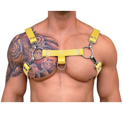 STRONG PUP H-STYLE WIDE LEATHER CHEST HARNESS