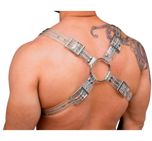 STRONG PUP X-STYLE CLEAR PVC THICK STITCHED THREAD CHEST HARNESS