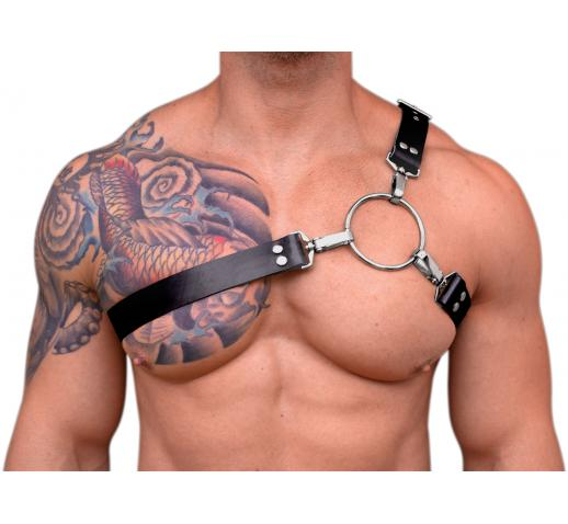 STRONG PUP Y-STYLE WIDE RUBBER CHEST HARNESS - Black