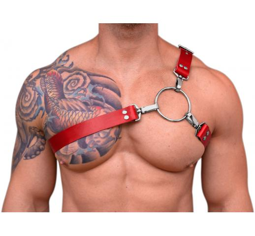 STRONG PUP Y-STYLE WIDE LEATHER CHEST HARNESS