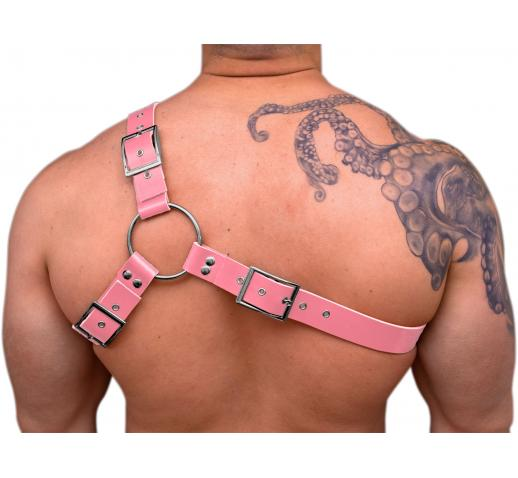 STRONG PUP Y-STYLE LEATHER UNICORN CHEST HARNESS - Pink
